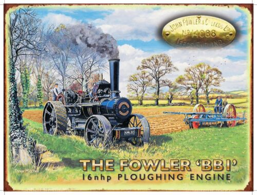 Fowler Ploughing Medium Metal Tin Sign Steam Traction Engine Vintage Picture