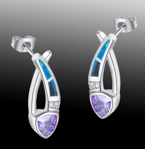 Band Wedding Jewelry Amethyst /& Blue Fire Opal Gemstone 925 Silver Stud Earrings