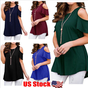 Womens-Summer-Cold-Shoulder-Tee-Top-Short-Sleeve-Blouse-Casual-T-Shirt-Plus-Size
