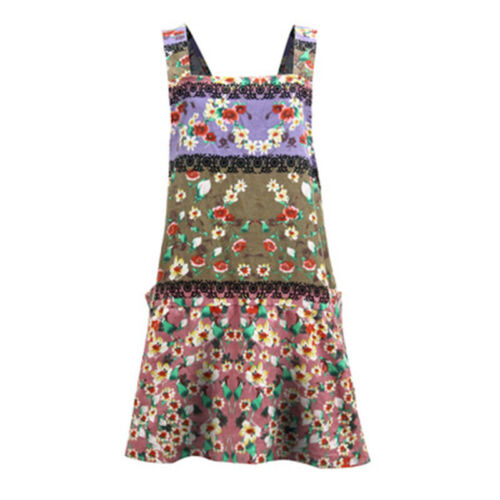 Womens Ethnic Vintage Cotton And Linen Printed Back Cross Long Kitchen Apron