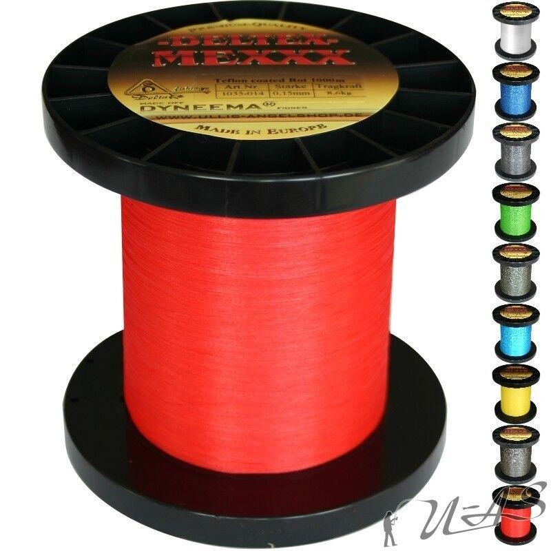 Deltex Mexxx Hi-Tec Rund Geflochtene Angel Schnur Teflon 0,40 1000M Rot Kva  | Neues Produkt