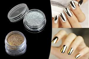 Image Is Loading Chrome Mirror Powder Nails Gold Silver Nail Art