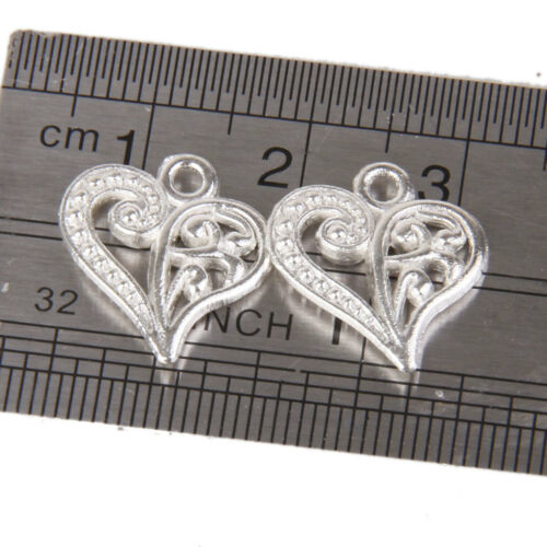 50x Charms Pendants Heart Silver Plated Jewellery Making Findings DIY Craft