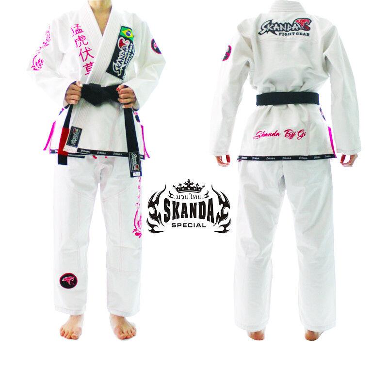 SKANDA Female Jiu jitsu Gi Brazilian Jiujitsu Uniform Pearl Weave BJJ White