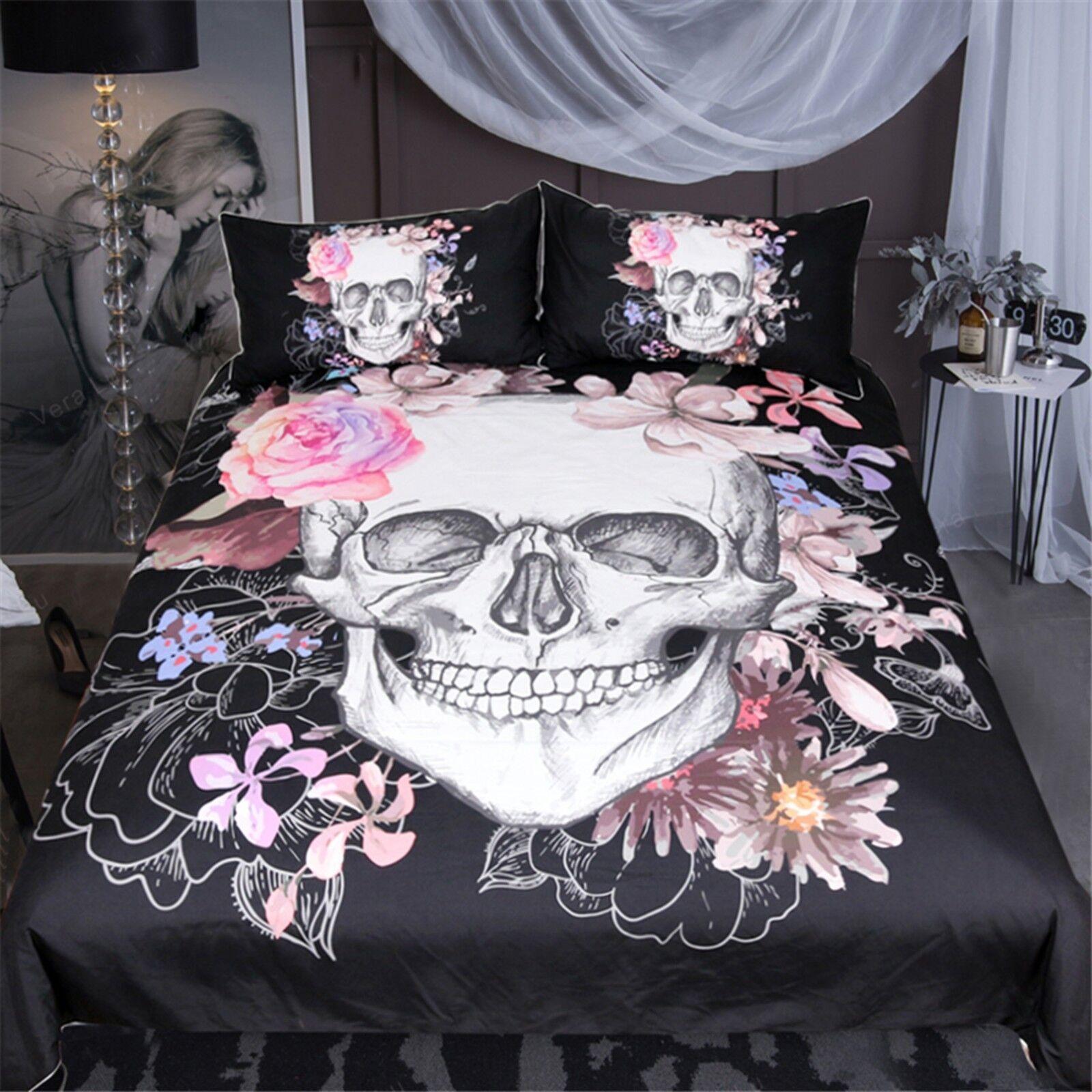 3D Skull Flower 533 Bed Pillowcases Quilt Duvet Cover Set Single Queen King AU