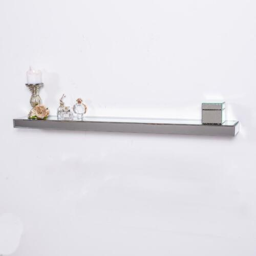 Large Mirrored Floating Wall Shelf Silver Glass Storage Display Home Unit 120cm