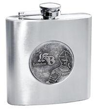 NEU Knightsbridge Gothic Flachmann Trinkflasche Flasche Ritter-Emblem Edelstahl