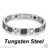 Bracelet Titane+acier Inoxydable+fibre De Carbone+hématite Magnétique