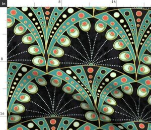 Peacock, Feather, Art Deco, Art Nouveau, Spoonflower Fabric by the Yard