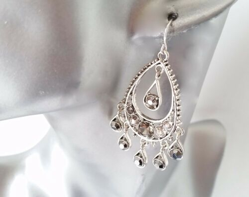Stunning antique silver tone /& hematite diamante crystal drop earrings NEW *