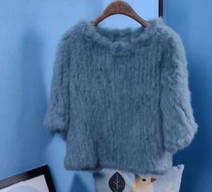 Real-Genuine-Knitted-rabbit-Fur-Womens-Warm-Coat-Jacket-Outwear-Short-Winter