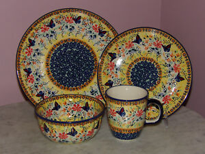 Image is loading Genuine-Handmade-UNIKAT-Polish-Pottery-16-PC-Dinnerware- & Genuine Handmade UNIKAT Polish Pottery 16 PC Dinnerware Set ...