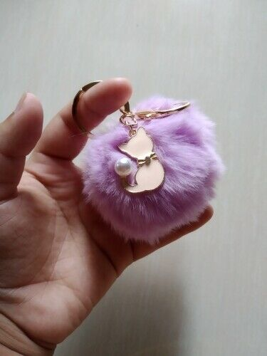 Cute Pink Cat Fur Keychain Pompom Faux Fur Ball Fluffy Pompon Keyring Bag Charm