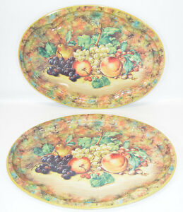 """Daher Decorated Ware Fruit Pattern Oval Tin Tray England 20""""x15"""" Set of 2"""