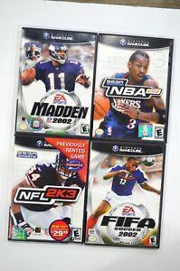 Lot-of-4-Nintendo-Gamecube-Games-NBA-2K2-NFL-2K3-Madden-2002-Fifa-2002-CIB