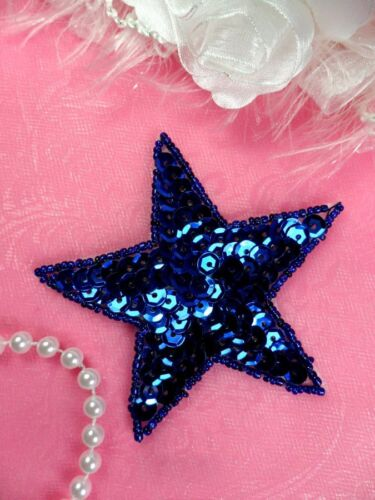 JB74 Star Applique 3 Inch Blue Sequin Beaded Independence Patriotic