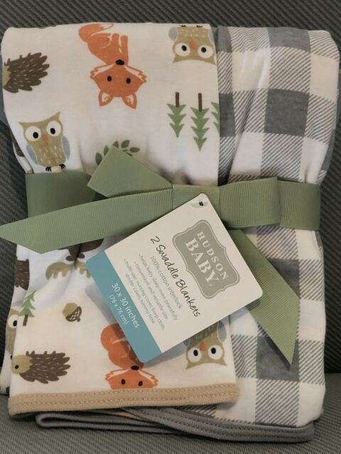 Hudson Baby 2 Piece Interlock Cotton Swaddle Blanket Ducks One Size