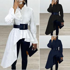 Womens-Long-Flouncing-Sleeve-Asymmetric-Hem-Lapel-Shirt-Casual-Loose-Top-Blouse
