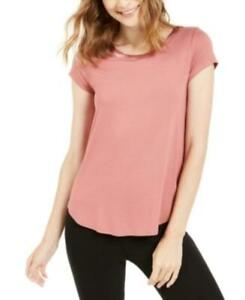 Alfani Women's Crew Neck Short Sleeve Satin-Trim High-Low T-Shirt (Pink, L)
