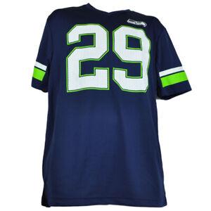 NFL-Seattle-Seahawks-Game-Jersey-Tshirt-V-Neck-Navy-Blue-Mens-Adult-Short-Sleeve
