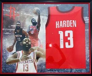 James-Harden-Signed-Framed-Red-Houston-Rockets-Jersey-Beckett-Witness-BAS