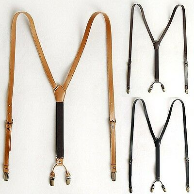 Mens Faux Leather Suspender Y-Back Retro Brass Braces Clip-On 3 Colors