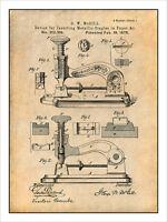 Stapler Device For Inserting Metallic Staples Patent Print Art Drawing Poster