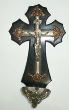 Vintage  French Religious Holy Water Front Benitier Black Wood Silver Metal Old