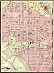 Details about 1900 Antique WASHINGTON DC Street Map City Map Of DC Gallery  Wall Art 6428