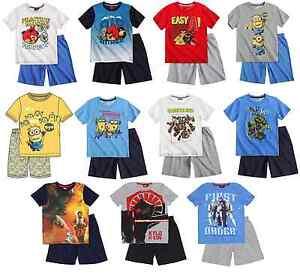 Boys Official Licensed Short Sleeve Summer Pyjamas PJs 5 - 12 Years