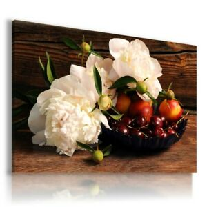 PEONIES CHERRY FRUITS VEGETABLES KITCHEN BAKERY Canvas Wall Art F149 UNFRAMED