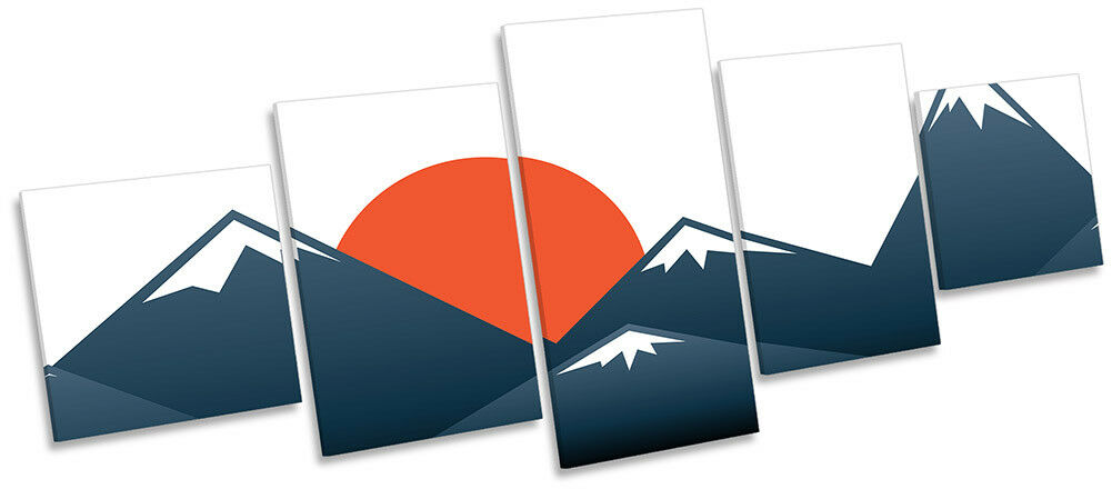 Japanese Sunset Mountains Picture CANVAS WALL ART Five Panel