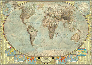 Highly detailed vintage world map large poster art print a0 a1 a2 image is loading highly detailed vintage world map large poster art gumiabroncs Image collections
