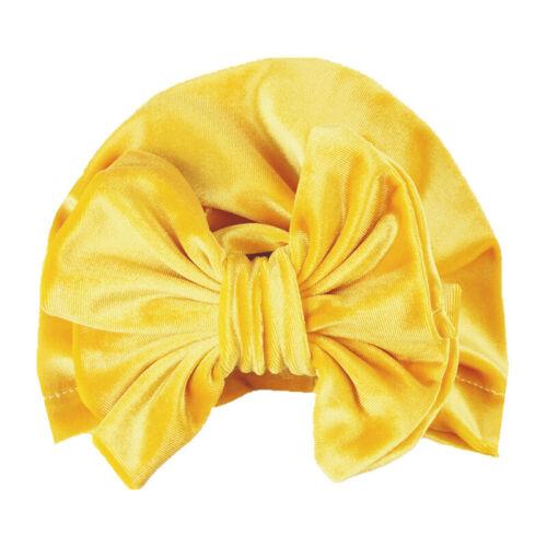 Cute Baby Velvet Big Bow Turban Indian Hat Winter Warm Kids Girls Beanie Cap New
