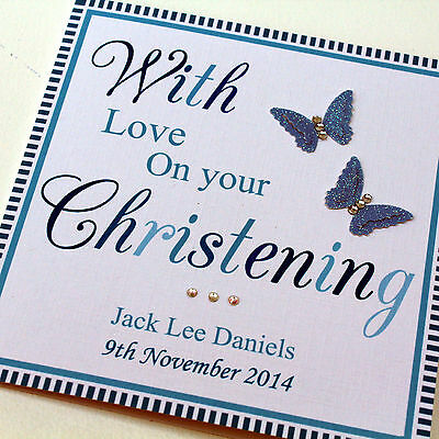 Personalised Handmade Christening Card for a Boy