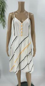 Rag-and-Bone-Womens-Doris-Striped-A-line-Dress-Size-XS-White-Sleeveless-Cotton