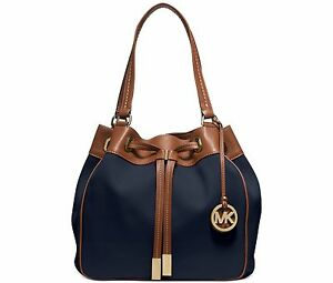 ee569eee92a8 NWT Michael Kors Navy Blue Marina Large Canvas Handbag Drawstring ...