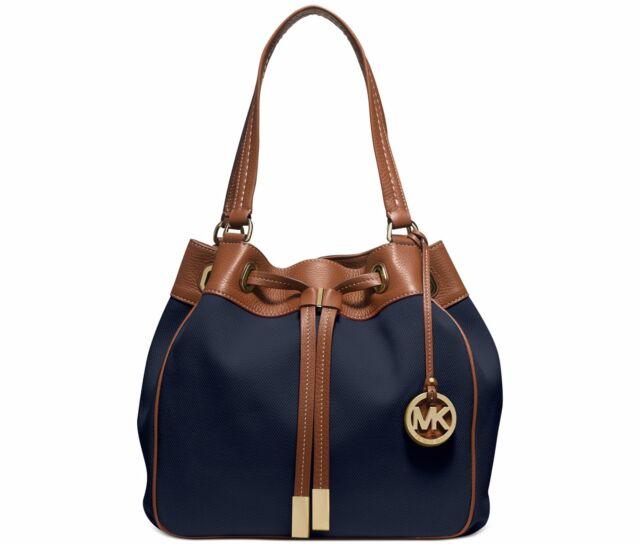 aac041cb64df NWT Michael Kors Navy Blue Marina Large Canvas Handbag Drawstring Tote $268