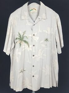 PARADISE-FOUND-Mens-Beige-Floral-Palms-S-S-Hawaiian-Camp-Shirt-XL-Rayon