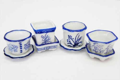 Dollhouse Miniature Set of 4 Blue /& White Ceramic Flower Pots with Saucers