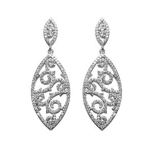 Pave filigree statement clear cubic zirconia chandelier earrings image is loading pave filigree statement clear cubic zirconia chandelier earrings aloadofball Choice Image