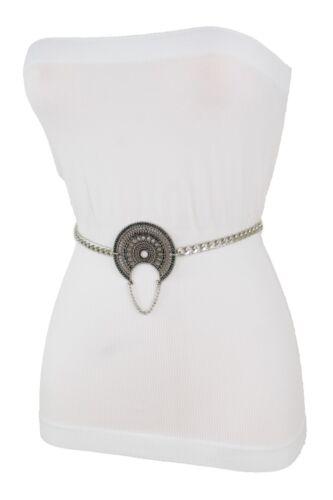 Women High Waist Hip Fashion Belt Silver Metal Chain Ethnic Moon Buckle XS S M