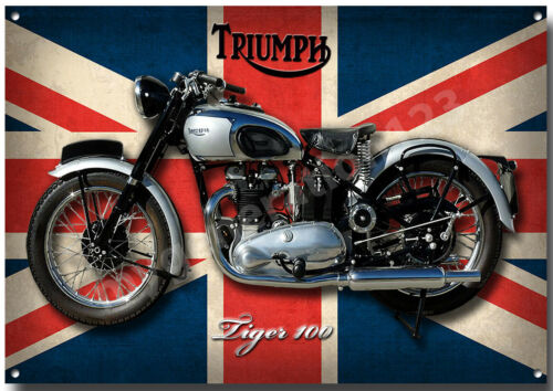 TRIUMPH TIGER 100 MOTORCYCLE METAL SIGN. CLASSIC BIKES A3