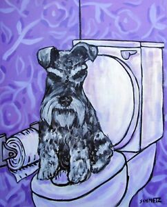 schnauzer-in-the-bathroom-8x10-dog-art-print