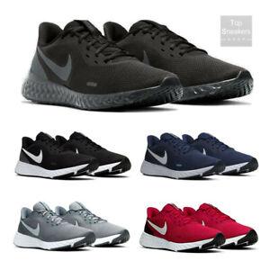 Scarpe-Sportive-Uomo-Nike-Revolution-5-Sneakers-Ginnastica-Nero-Blu-Grigio-Rosso