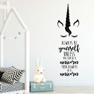 Unicorn-Wall-Sticker-Always-Be-Yourself-Removable-Funny-Decal-Kids-Room-Decor