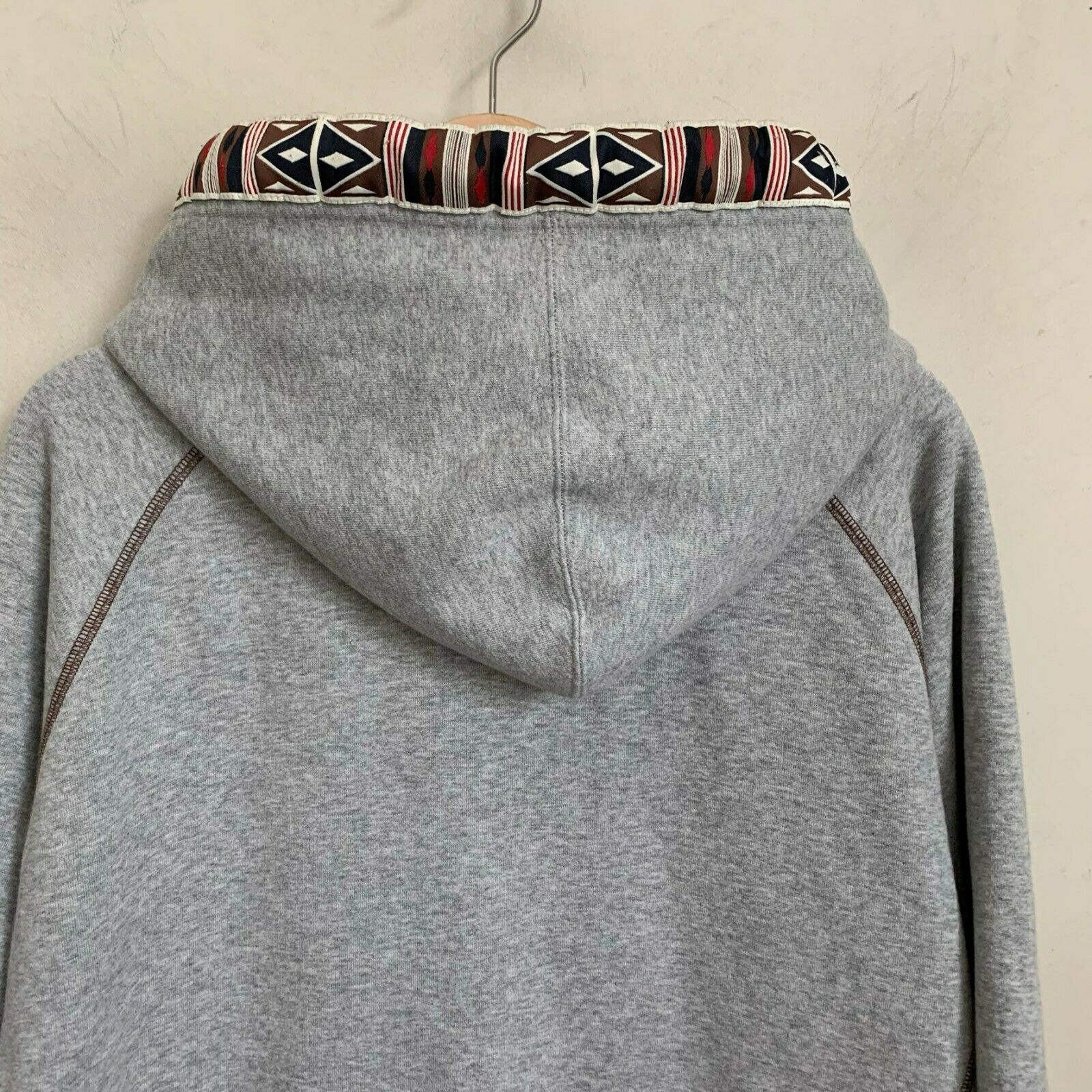 Akademiks Hoodie Native Warrior Indian Gray Zip Front Pockets Drawcord Size XL