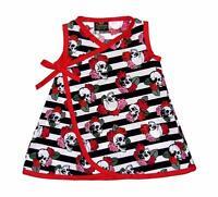 Skull Rose Black White Striped Punk Rock Goth Baby Girls Toddler Dress Pants