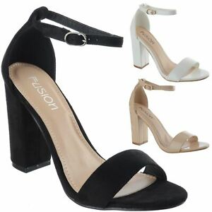 8f4f13c3aba Details about WOMENS LADIES HIGH BLOCK HEEL OPEN PEEP TOE SANDALS ANKLE  STRAP PARTY SHOES SIZE