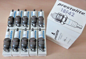NOS-Set-of-10-pack-Prestolite-18F42-Spark-Plugs-Box-of-10-45-RF11YC-WR5-A6FS